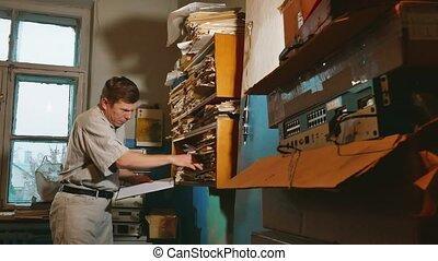 dziad, bilansista, w, na, stary, biuro, bada, papier,...