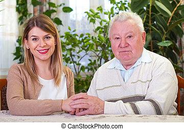 dziad, z, jego, dozorca