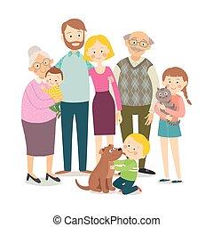 dziadek, szczęśliwy, pets., macierz, portrait., odizolowany, wektor, dzieci, rysunek, ręka, płaski, 10, babcia, family., pociągnięty, style., ilustracja, tło, ojciec, eps, rodzina, dziatw, biały