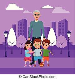dziadek, wnuki, ręka