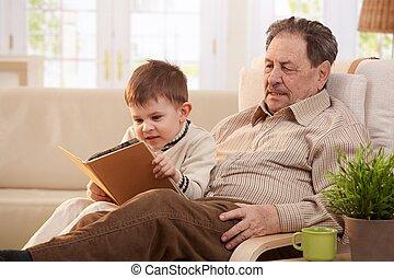 dziadek, z, jego, wnuk