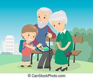 dziadkowie, media, senior, tablet., styl, communications., nauczanie, towarzyski, płaski, gadżet, wnuk, praca, starsi, kobieta, para, ustalać, video, człowiek, rozmowa telefoniczna