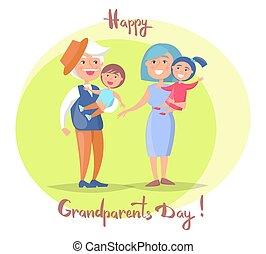 dziadkowie, para, dzień, senior, dzieci, szczęśliwy
