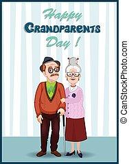 dziadkowie, para, powitanie, starszy, karta, dzierżawa, dzień, hands., szczęśliwy