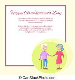 dziadkowie, para, razem, chód, senior, dzień, szczęśliwy