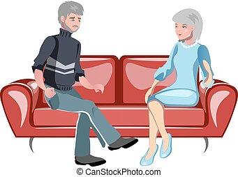 dziadkowie, posiedzenie, leżanka