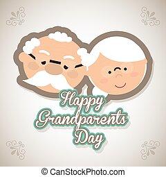 dziadkowie, szczęśliwy, dzień