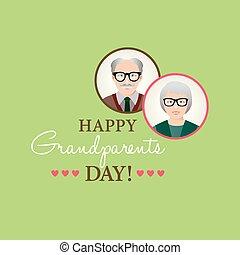 dziadkowie, tło, szablon, dzień, szczęśliwy, card., ...