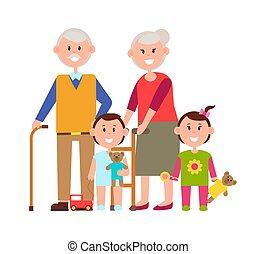 dziadkowie, wektor, wnuki, ilustracja