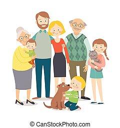 dziatw, rodzina, dzieci, family., odizolowany, style., macierz, pociągnięty, biały, pets., szczęśliwy, płaski, dziadek, ilustracja, ręka, portrait., ojciec, tło, rysunek, 10, eps, wektor