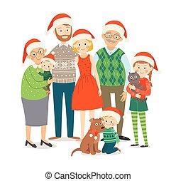 dziatw, rodzina, kapelusze, razem., style., odizolowany, dziadkowie, dzieci, rodzice, pociągnięty, biały, pets., szczęśliwy, płaski, cielna, ilustracja, ręka, tło, rysunek, 10, eps, boże narodzenie, wektor
