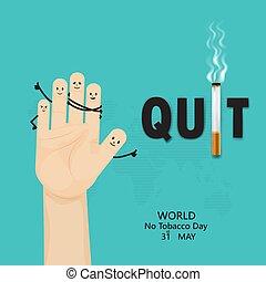 dzień, świadomość, palenie, template., świat, opuszczać, ...