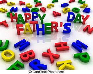 dzień, barwny, beletrystyka, szczęśliwy, spelled, ojcowy, poza
