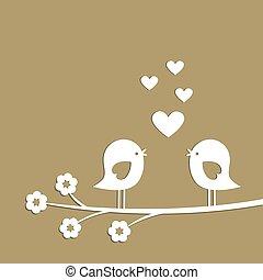 dzień, cięcie, karta, sprytny, ptaszki, szykowny, serca, valentine, wektor, paper., biały