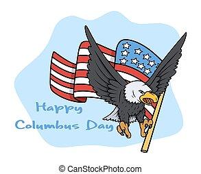 dzień columbus, orzeł, z, bandera, wektor
