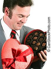 dzień, czekolada, dostaje, człowiek, list miłosny