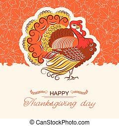 dzień, dekoracje, karta, tło, indyk, ptak, dziękczynienie