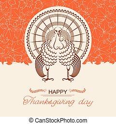 dzień, karta, indyk, ptak, dziękczynienie