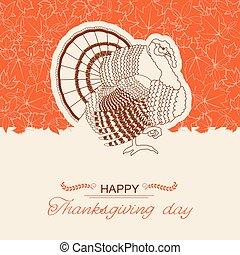 dzień, karta, tło, indyk, ptak, dziękczynienie