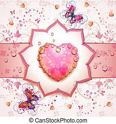 dzień, karta, valentine