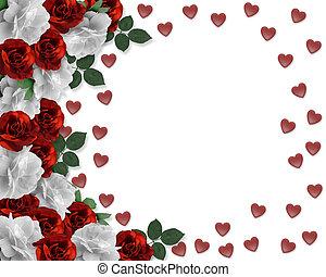 dzień, list miłosny, róże, serca