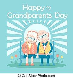 dzień, ludzie, szczęśliwy, stary, pozować, dziadkowie, na wolnym powietrzu