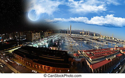 dzień, noc, &, meczet, prorok