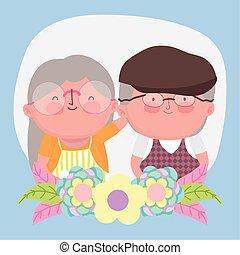 dzień, ozdoba, kwiaty, rysunek, szczęśliwy, babcia, sprytny, dziadkowie, dziadek