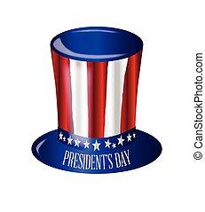 dzień, prezydent, kapelusz, bandera, sam, wujek