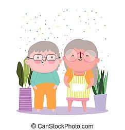 dzień, rysunek, litery, szczęśliwy, babcia, sprytny, para, stary, dziadkowie, dziadek
