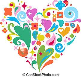 dzień, serce, dekoracyjny, wektor, list miłosny
