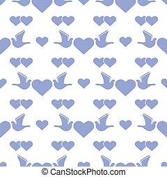 dzień, serce modelują, ślub, gołębica, valentine, wektor