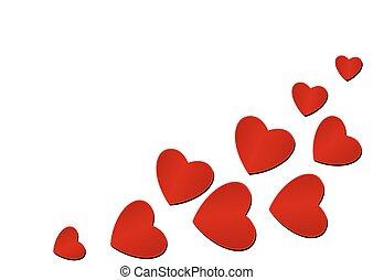 dzień, serce, tło, valentine, biały