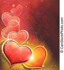 dzień, serce, tło, valentine, czerwony