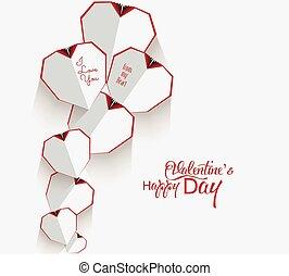 dzień, serce, valentine, biały