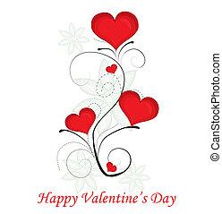dzień, serce, valentine, wektor, tło., czerwony, illustration.