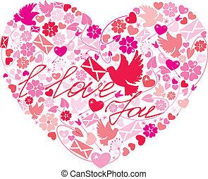 dzień, serce, valentine`s, -, kartka pocztowa