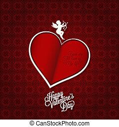 dzień, szczęśliwy, karta, święto, list miłosny