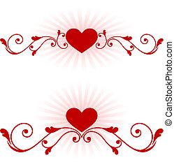 dzień, tło, serca, romantyk, projektować, valentine