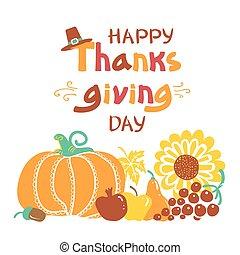 dzień, tekst, dziękczynienie, wektor, handwritten, piękny, card., szczęśliwy, ilustracja, jesień