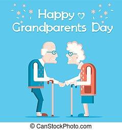 dzień, tekst, szczęśliwy, karta, stary, dziadkowie, święto, ludzie., wektor