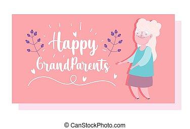 dzień, tytuł, sprytny, karta, dziadkowie, kwiaty, babunia, rysunek, szczęśliwy
