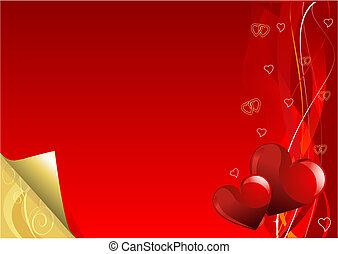dzień, złoty, tło, valentine, czerwony