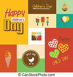 dzieci, chrzcielnica, dzień, karta, szczęśliwy