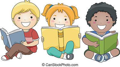 dzieci, czytanie, książki