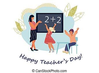 dzieci, dzień, nauczyciel, szkoła, classroom., karta, nauczycielstwo, szablon, powitanie, albo, pedagogues., chorągiew