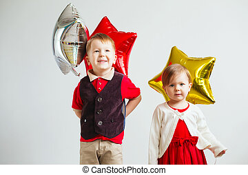 dzieci, dzierżawa, niejaki, gwiazda postała, balloons.