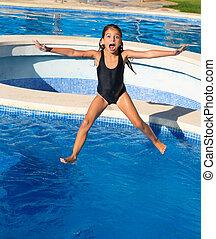 dzieci, dziewczyna, skokowy, do, przedimek określony przed rzeczownikami, błękitny, kałuża, czarnoskóry swimsuit