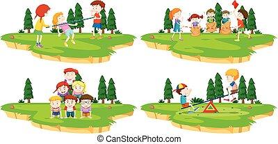 dzieci, gra, różny, igrzyska, w parku
