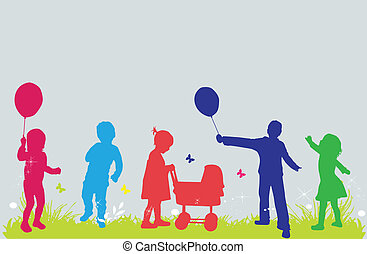 dzieci, ilustracja, natura, wektor